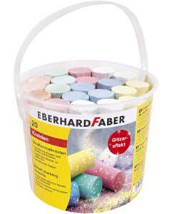 Glitterstoepkrijt 20 stuks in emmer Eberhard Faber