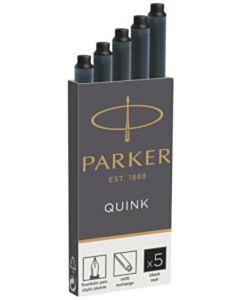 5 Inktpatronen Parker Quink zwart permanent