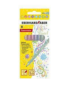 8 Glitter viltstiften pastelkleuren Eberhard Faber 551009