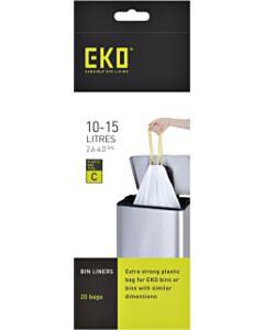 Afvalzak EKO type C 10-15 liter met trekband wit 20 stuks