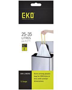Afvalzak EKO type E 25-35 liter met trekband wit 12 stuks
