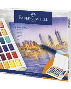 Waterverf Faber-Castell 48 kleuren in doos met palet