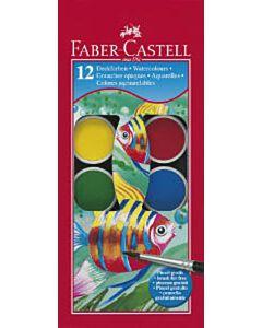 Waterverf Faber-Castell 12 kleuren met penseel