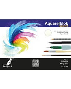 Aquarelblok 17x24cm 16 vel 300 gram roomwit Kangaro